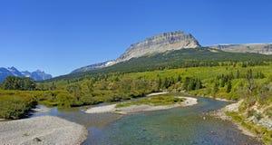 圣玛丽河,冰川国家公园 库存图片