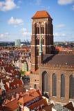 圣玛丽的大教堂在格但斯克老城镇  库存照片
