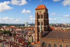 圣玛丽的大教堂在格但斯克老城镇  库存图片