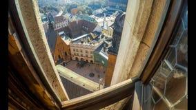 从圣玛丽的大教堂塔的顶视图在克拉科夫 股票录像