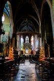 圣玛丽的大教堂,在14世纪重建的砖哥特式教会内部最初修造在13世纪初, a 库存照片