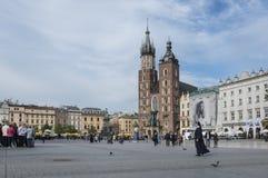 圣玛丽的教会在克拉科夫镇的历史中心在波兰 免版税库存照片
