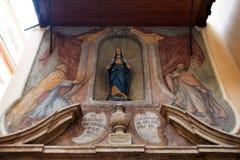 圣玛丽14世纪教会在Dolac市场附近位于萨格勒布 图库摄影