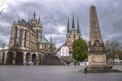 圣玛丽` s大教堂和圣Severus教会,老镇在埃福特,德国 图库摄影