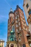 圣玛丽` s天主教会Bazylika Mariacka在克拉科夫,波兰 免版税库存图片