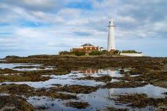 圣玛丽` s灯塔,东北英国 库存图片