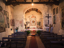 圣玛丽Alzana, famou奉献的教会的内部  库存照片