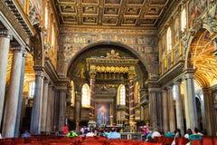 圣玛丽Maggiore大教堂内部在罗马 免版税库存照片