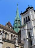圣皮埃尔大教堂在日内瓦 免版税图库摄影
