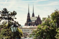 圣皮特圣徒・彼得和保罗大教堂在布尔诺,捷克语 图库摄影
