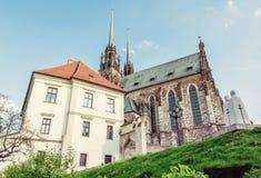 圣皮特圣徒・彼得和保罗,布尔诺,老过滤器著名大教堂  免版税库存图片