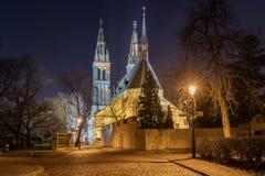 圣皮特圣徒・彼得和圣保罗大教堂在Vysehrad,布拉格, 库存照片