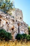 圣皮特圣徒・彼得城堡的石塔和墙壁在博德鲁姆 在墙壁下的地球长满了与草,被烘干在下 库存图片