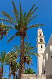 圣皮特圣徒・彼得` s教会钟楼在贾法角,以色列 免版税图库摄影