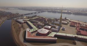 圣皮特圣徒・彼得和保罗堡垒,晴朗圣彼得堡的春天 影视素材