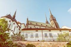圣皮特圣徒・彼得和保罗,布尔诺,摩拉维亚,黄色过滤器大教堂  免版税库存图片