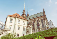 圣皮特圣徒・彼得和保罗,布尔诺,秀丽照片filte著名大教堂  免版税库存照片