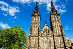 圣皮特圣徒・彼得和圣保罗大教堂在Vysehrad 免版税库存照片