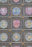 圣皮特圣徒・彼得和圣保罗, Vysehrad,门,布拉格,捷克的细节大教堂  免版税库存照片