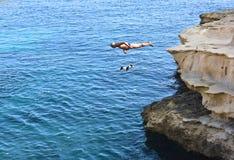 圣皮特圣徒・彼得水池海湾,马耳他12月8日:人和狗游泳在水中在圣皮特圣徒・彼得在2015年12月8日的马耳他合并海湾 两个疯狂的朋友 免版税库存图片