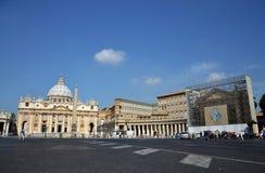 圣皮特的广场在梵蒂冈 免版税库存图片