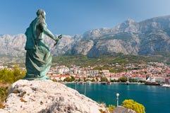 圣皮特雕象在Makarska 免版税库存照片