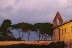 圣米尼亚托Al Monte教会的片段有日本金松的在黄昏 佛罗伦萨 意大利 免版税库存照片