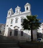 圣米格尔火山教会在Alfama区,里斯本 库存照片