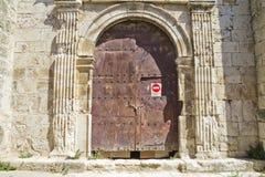 圣米格尔火山,罗马式转折, 13世纪教会  免版税库存照片