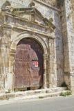 圣米格尔火山,罗马式转折, 13世纪教会  免版税图库摄影