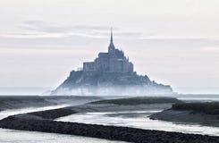 圣米歇尔有雾的看法  免版税图库摄影