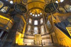 圣索非亚大教堂博物馆教会的内部在伊斯坦布尔,土耳其 免版税库存照片