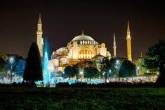 圣索非亚大教堂,伊斯坦布尔夜视图  免版税库存图片