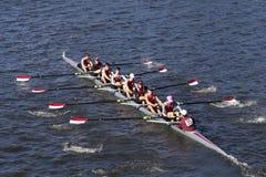 圣约瑟夫` s大学学院乘员组在头赛跑查尔斯赛船会人` s青年时期八 免版税图库摄影