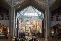 圣约瑟夫` s教会的内部在老城拿撒勒在以色列 免版税库存图片