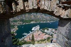 从圣约翰城堡的全景 科托尔 黑山 免版税图库摄影