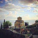 圣约翰教会是拜占庭式和亚美尼亚建筑学的一个美好的例子在奥赫里德马其顿 图库摄影