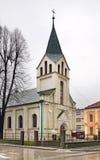 圣约翰教会浸礼会教友在特拉夫尼克 达成协议波斯尼亚夹子色的greyed黑塞哥维那包括专业的区区映射路径替补被遮蔽的状态周围的领土对都市植被 免版税库存图片