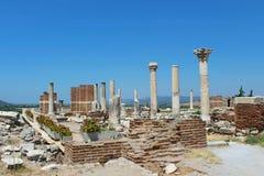 圣约翰斯大教堂废墟在Ayasuluk小山的在Selcuk,以弗所,土耳其 库存图片