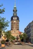 圣约翰斯教会和Sendig喷泉在巴德尚道,撒克逊人的瑞士 库存图片
