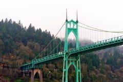 圣约翰斯桥梁波特兰俄勒冈成拱形哥特式样式 库存图片