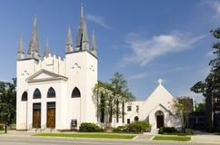 圣约翰` s主教制度的教会,菲耶特韦尔NC-28 2012年3月:突出大约1817社区教会 库存照片