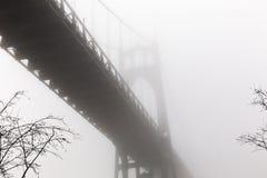 圣约翰` s桥梁在大教堂公园的一个有雾的冬日 库存图片