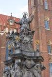 圣约翰Nepomuk, 18世纪纪念碑, Ostrow Tumski,弗罗茨瓦夫,波兰雕象  图库摄影