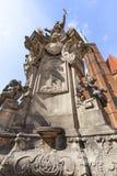 圣约翰Nepomuk, 18世纪纪念碑, Ostrow Tumski,弗罗茨瓦夫,波兰雕象  库存图片