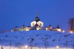圣约翰Nepomuk, Zdar na朝圣教会雪的 库存图片