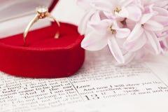 圣经和定婚戒指 免版税库存图片