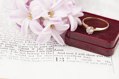圣经和定婚戒指 免版税库存照片