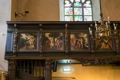 圣经绘画在圣灵塔林教会里  免版税库存图片