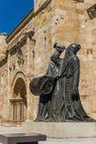 圣胡安包蒂斯塔教会萨莫拉市长正方形的 西班牙 免版税库存图片